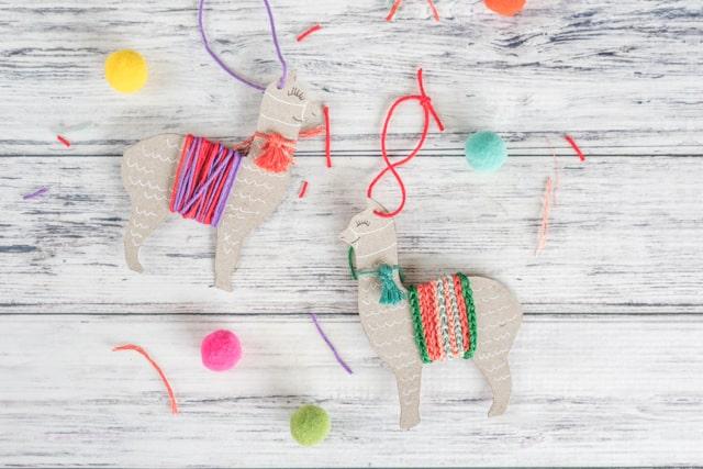 upcycled llama ornaments
