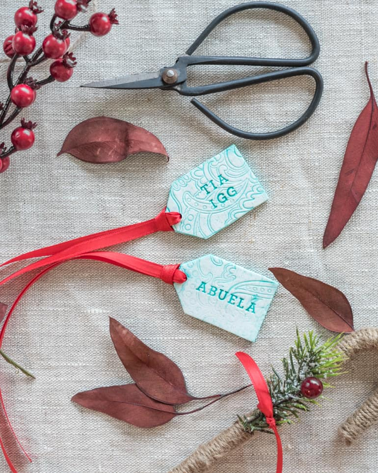 faux ceramic polymer clay gift tags