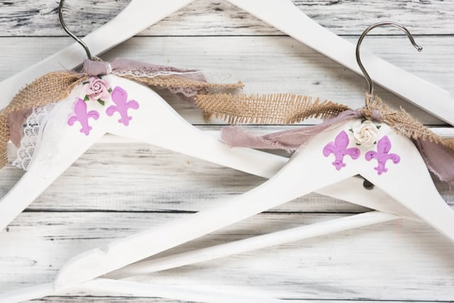 add embellishments to shabby hangers
