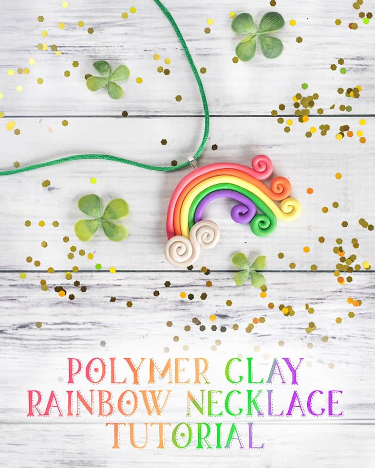 rainbow polymer clay necklace tutorial