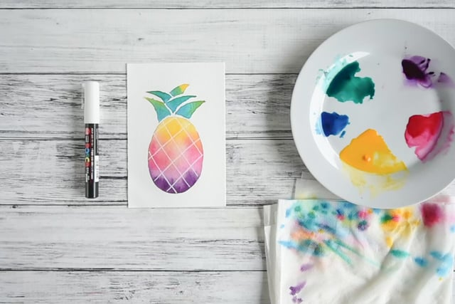 use paint pen to add crosshatching on pineapple