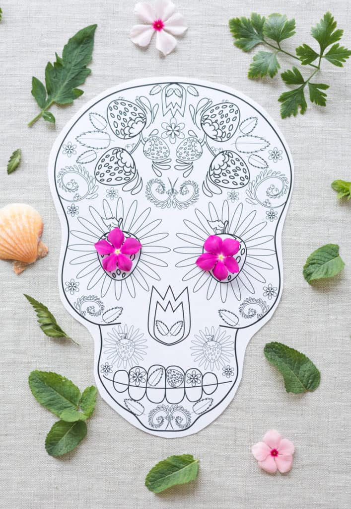 free printable sugar skull coloring page for adults