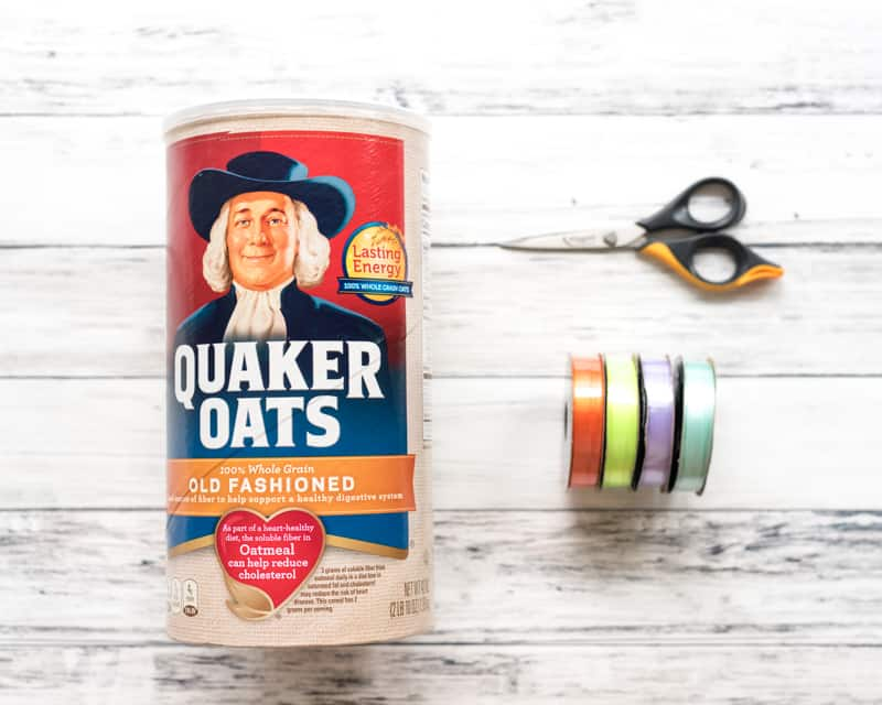 materials for DIY fine motor toy with an oatmeal box