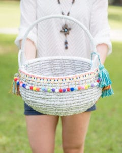 DIY boho market basket tutorial with tassel making instructions