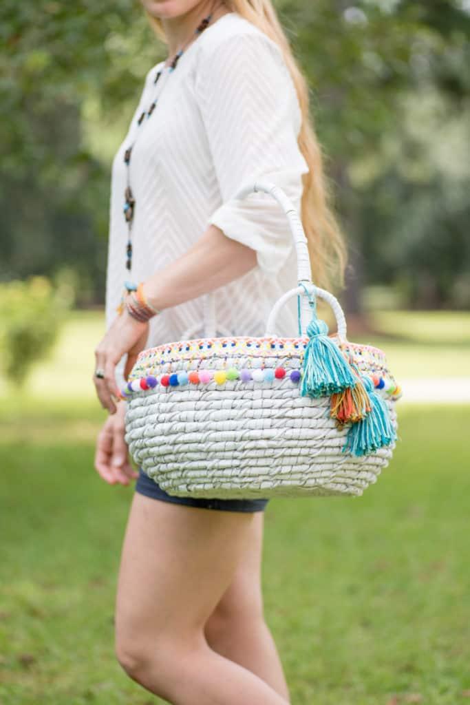 tutorial for DIY boho market basket with tassels
