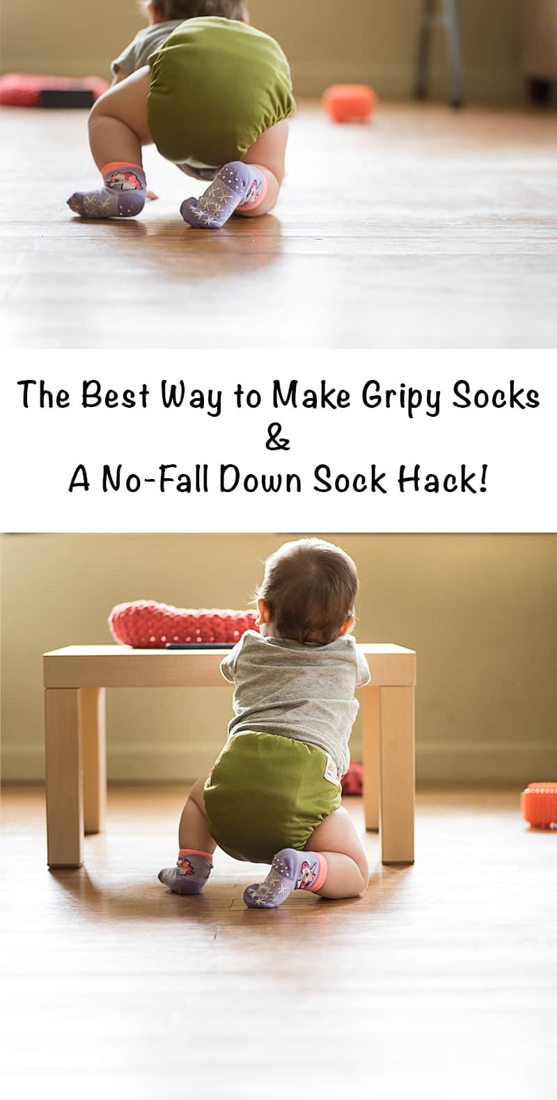the best way to make grippy socks and a no-fall down sock hack!