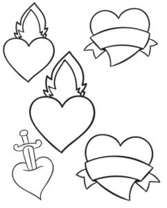 free printable tattoo style hearts
