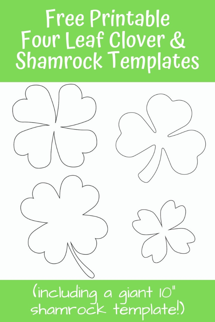 Download these free printable four leaf clover and shamrock templates for St. Patrick's Day! #freeprintable #stpatricksday #stpatricksdaycraft #fourleafclover