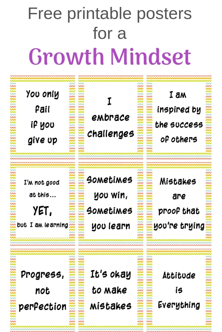 Grab these growth mindset bulletin board printables! Free printable posters for a growth mindset with a rainbow background #freeprintable #growthmindset