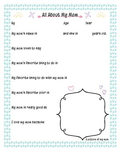 This is a graphic of Old Fashioned All About Mom Printable