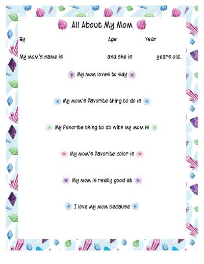 fill in the blank all about my mom printable for the mom who's a gem