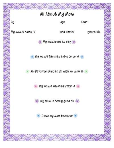 All about my Mom printable with mermaid scales