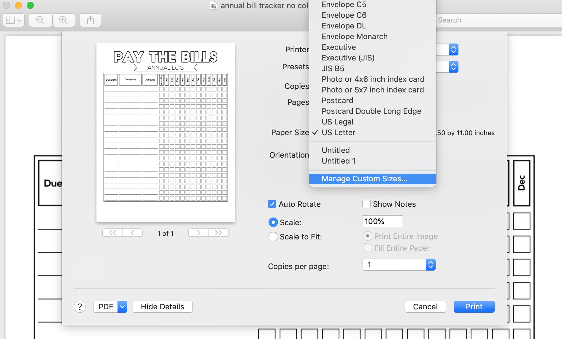 how to set custom margin for printing