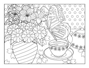 spring coloring page with butterfly and flowers