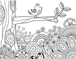 spring-coloring-page-with-bird