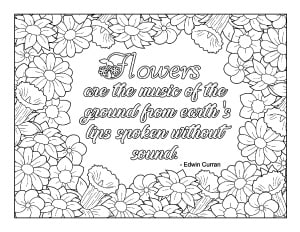 spring flowers quote coloring page