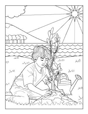 coloring-page-of-planting-trees